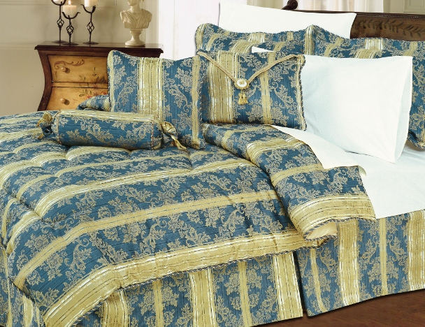 Blue And Gold Bedding Set