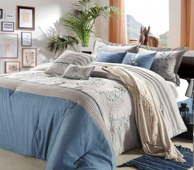 Blue Silver Bedding