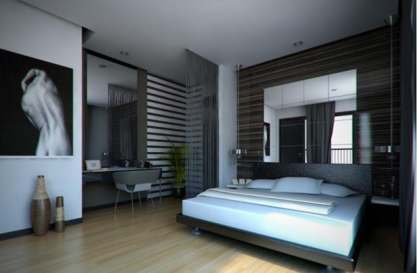 contemporary menly bedroom
