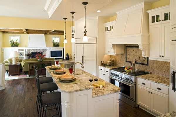 tips to decorate open kitchen floor plans
