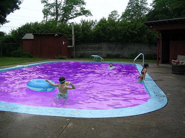 3 ways to build simple purple swimming pool for Simple backyard pools