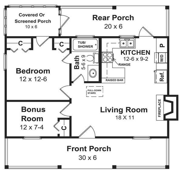 Simple open floor house plans 600 sq ft home