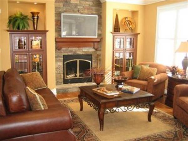 Arrange Living Room Corner Fireplace