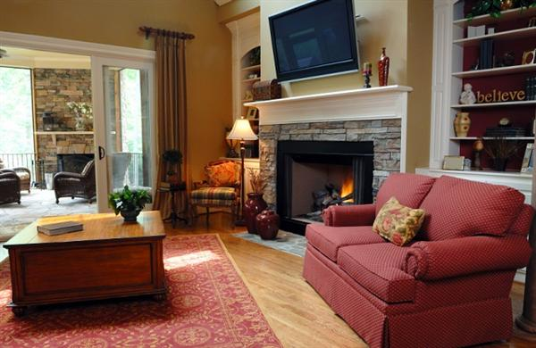 Living Room Design With Corner Fireplace