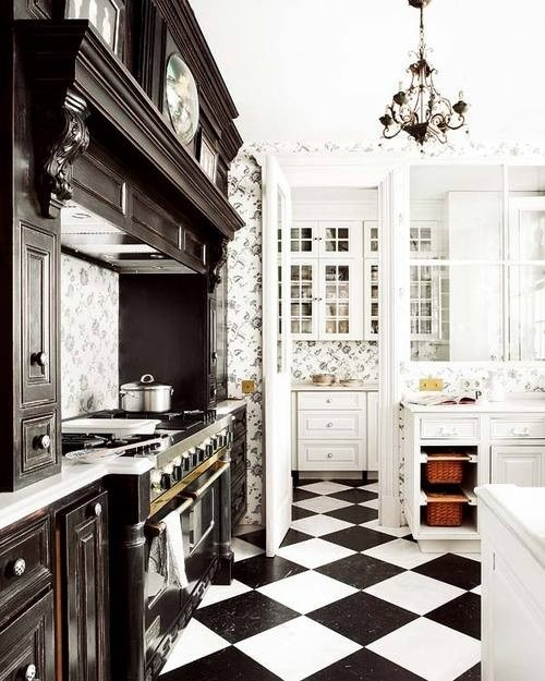 Kitchen Floor Tile Black and White