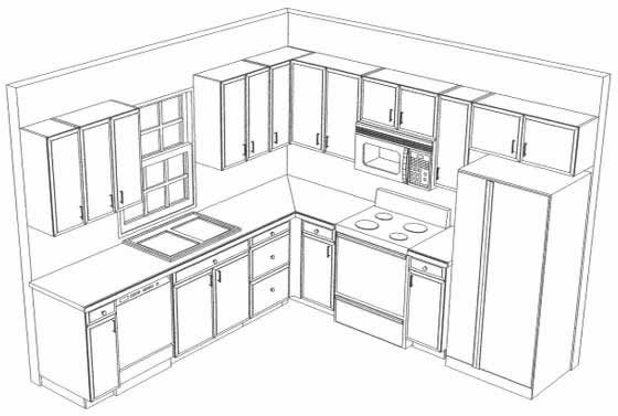 L shaped kitchen cabinet design with island for Kitchen cupboard layout designs
