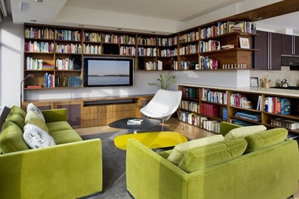 Modern Home Library Design Ideas Photo