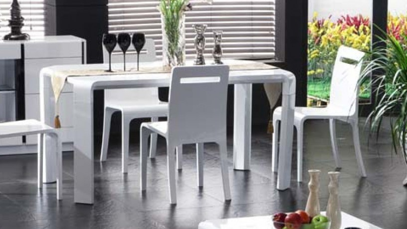 Modern White Wood Dining Table