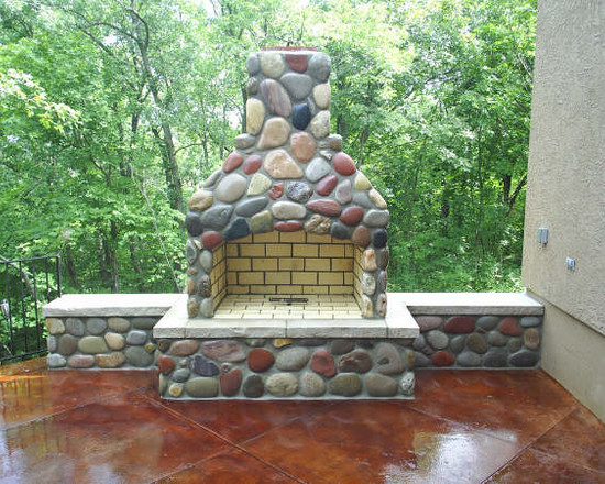 Outside Fireplace Ideas with Brick