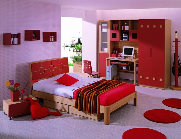 Purple and Red Bedroom