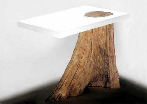 White Natural Dining Table