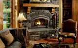 <b>Corner Fireplace Ideas with Sofas, TV, Stones</b>