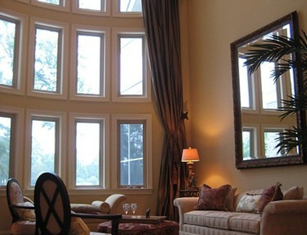 High Ceiling Designs with Windows and Curtains