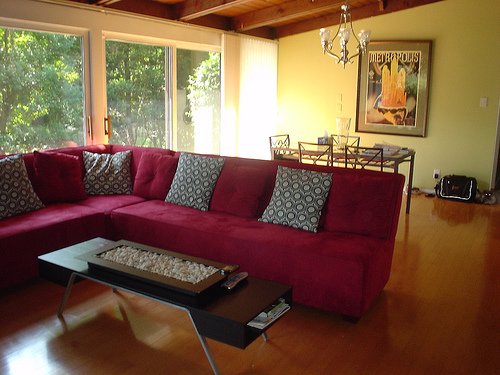 Living Room Decor with Red