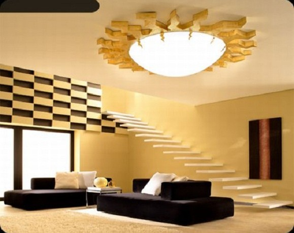 Modern pop ceiling designs for living room for Interior decoration living room roof