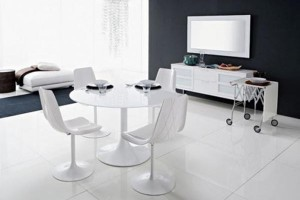 Modern White Dining Table and Chairs
