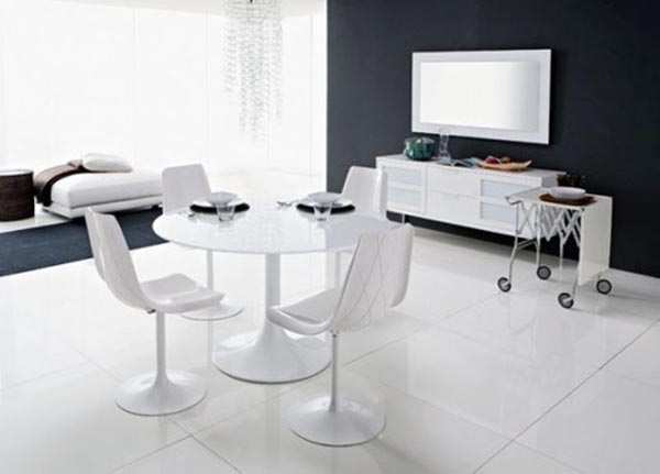 Modern White Dining Chairs With The Table