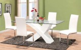 <b>Dining Table White from Woods with Glass</b>