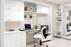 White Home Office Decorating Ideas for Clean Mind