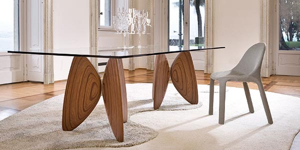 Wood dining table with glass top for Mobilya ottaviano