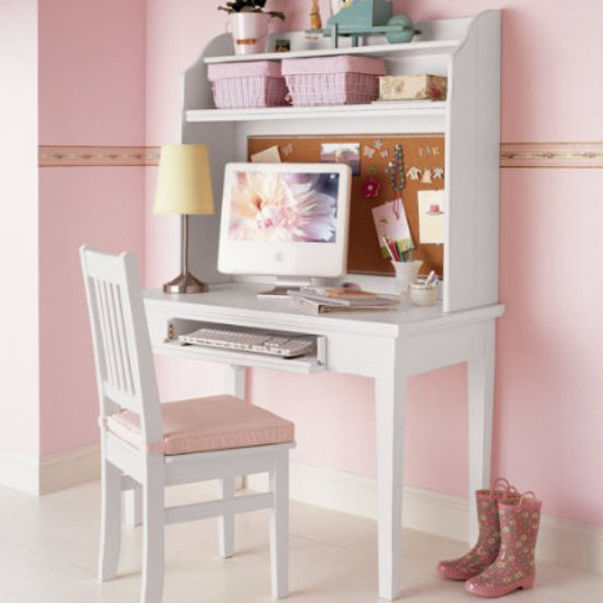 Wooden Office Table Painted White Photo