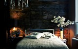 <b>Dark Blue Bedroom with White, Brown, and Black</b>