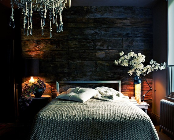 Dark Blue Bedroom With White Brown