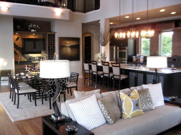 Open Living Room and Kitchen Colors