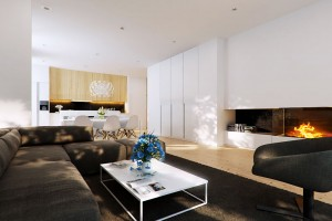 Brown modern living area with fireplace