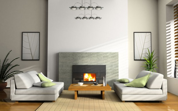 Clean modern fireplace