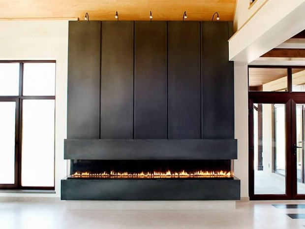 Large gas fireplace