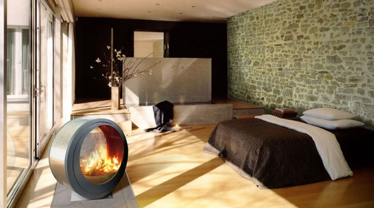 Modern bedroom fireplace