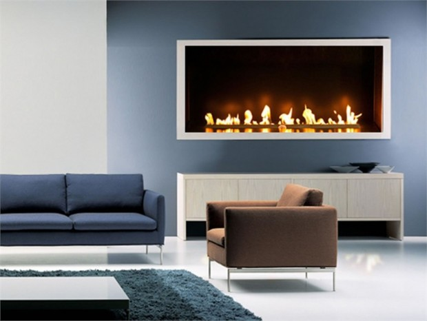 Modern simple gas fireplace