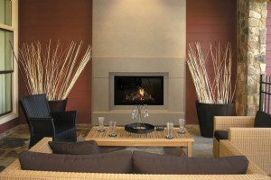 Modern living room with fireplace