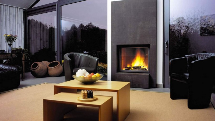 Modern looking living room and fireplace