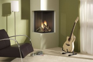 Two sided corner fireplace
