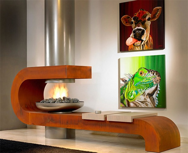 Unusual modern fireplace
