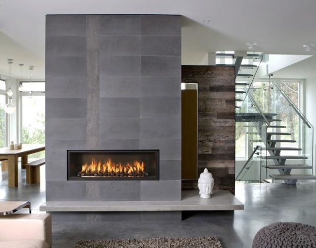 Wide fireplace